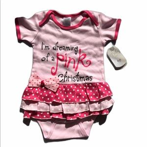 """""""I'm dreaming of a pink Christmas"""" bodysuit 0-6mos"""